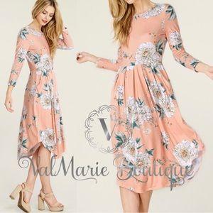 Peach Coral Floral Pleated Midi Dress